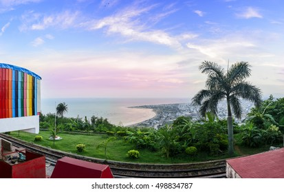 Panoramic View of Kailasagiri Hill overlooking Vizag City and the Beach. It is a hilltop park in the city of Vizakhapatnam, the hill at 360 feet overlooks beaches, forests and the city of Vizag
