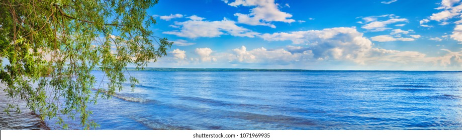 Panoramic view of the Kama river at summer sunny day. Russian landscape. Panorama