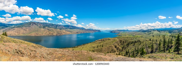 Panoramic view at the Kamloops lake in British Columbia, Canada