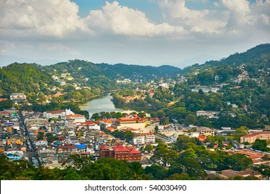 Panoramic view of Kandy city in Sri Lanka