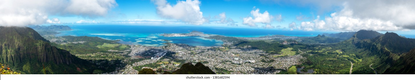 Panoramic view of Kaneohe from the atop Koolau mountain range (Haiku Stairs)
