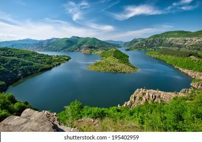 Panoramic view of Kardjali dam, Bulgaria