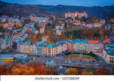 Panoramic view of Karlovy Vary with colorful houses in autumn (fall) in Czech Republic, Europe