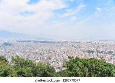Panoramic View of Kathmandu City from Swayambhunath Pagoda in Katmandu Valley
