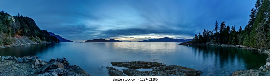 panoramic view from Kelvin Grove Beach & Marine Park at blue hour, Lions Bay, BC, Canada