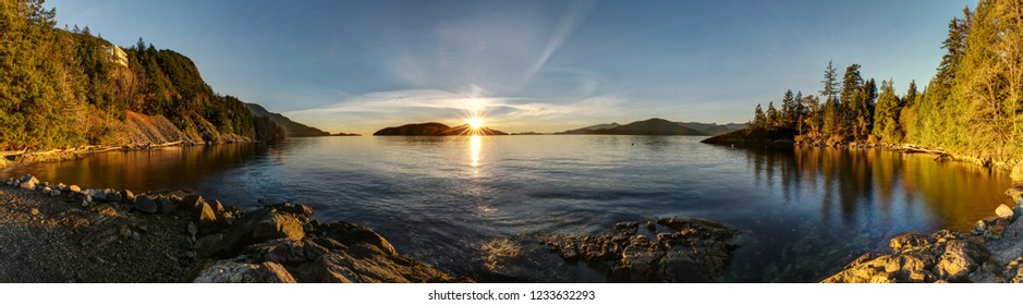 panoramic view from Kelvin Grove Beach & Marine Park at sunset, Lions Bay, BC, Canada