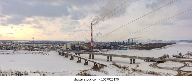 Panoramic view of Kemerovo from the high right Bank of the river Tom