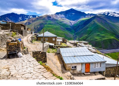 Panoramic view of Khinalug - ancient mountain village up in the High Caucasus - located just north of Quba in the middle of the Greater Caucasus mountains that divide Russia and the South Caucasus