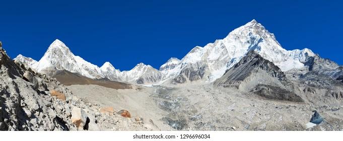 Panoramic view of Khumbu glacier Mount Pumori and Lhotse, Kala Patthar near Gorak Sheep village, Khumbu valley, Solukhumbu, Nepal Himalayas mountains with beautiful sky