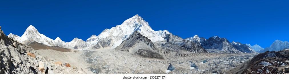 Panoramic view of Khumbu glacier Mount Pumori and Lhotse, Kala Patthar near Gorak Sheep village, Khumbu valley, Solukhumbu, Nepal Himalayas mountains