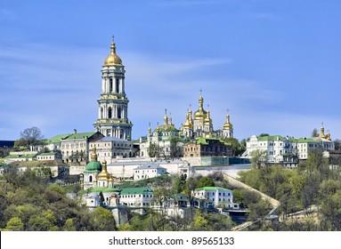 Panoramic view of Kiev Pechersk Lavra Orthodox Monastery from Dnieper river in Kiev, Ukraine