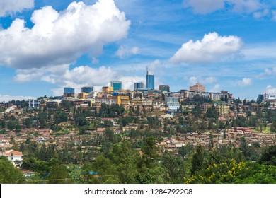 Panoramic view of Kigali Rwanda. Kigali capital of Rwanda