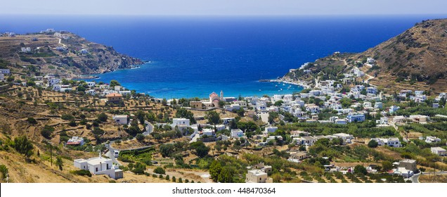 Panoramic view of Kini village and beach in Syros island. Greece
