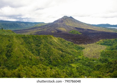 Panoramic view of the Kintamani volcano or Mount Batur in Bali, Indonesia.