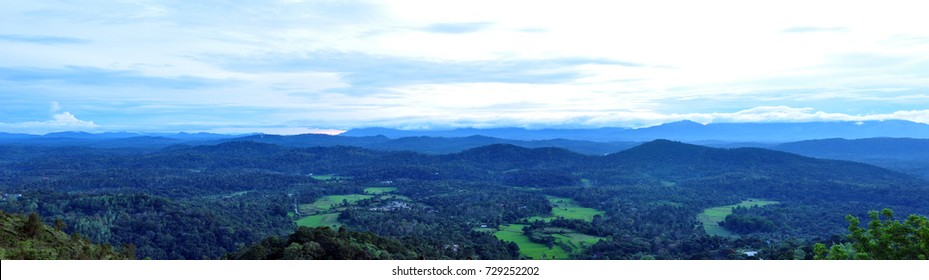 Panoramic view of Kodagu (Coorg) from Madikeri in Karnataka, India.