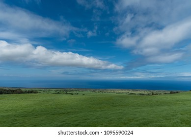 Panoramic view of the Kohala Coast on the Big Island of Hawaii taken higher elevation
