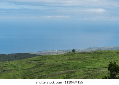 Panoramic view of the Kohala Coast on the Big Island of Hawaii taken from higher elevation