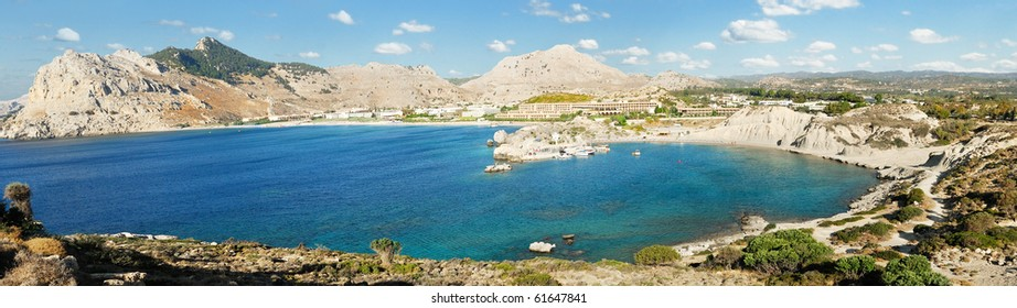 Panoramic view of Kolimbia bay at Rhodes. Greece