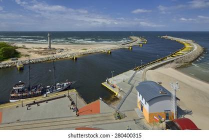 Panoramic view of Kolobrzeg port entrance, Poland