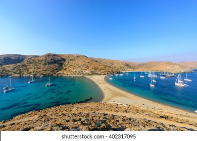Panoramic view of the Kolona double sided beach at Kythnos, Greece as viewed from Aghios Loukas islet