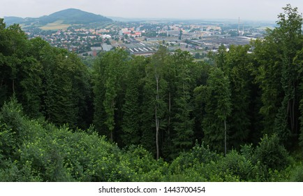 """Panoramic view of Koprivnice from from the look-out """"Bezrucova vyhlidka"""" in Beskydy in Czech republic"""