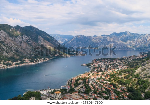Panoramic view of Kotor's bay and old town, Montenegro