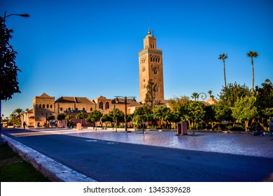 Panoramic View of Koutoubia Mosque, Marrakech City, Morocco