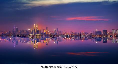 Panoramic view of Kuala Lumpur city waterfront skyline.
