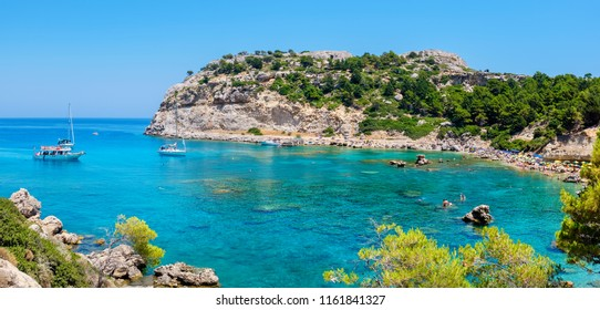 Panoramic view of Ladiko Anthony Quinn Bay. Rhodes, Dodecanese Islands, Greece, Europe