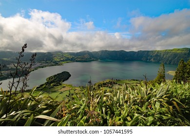 panoramic view of Lagoa Azul in Sete Cidades on São Miguel Island, Azores, Portugal