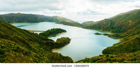 Panoramic view of Lagoa do Fogo in San Miguel island, Azores, Portugal