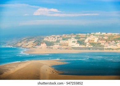 Panoramic view of the lagoon of Obidos, the city of Foz do Arelno and the Atlantic Ocean. Portugal
