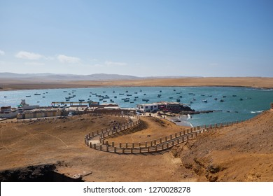 Panoramic view of Lagunillas Beach in the National Reserve of Paracas Park, Peru.