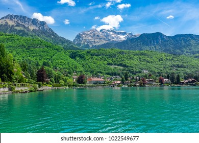 Panoramic view of Lake Annecy with beautiful mountains on the background, France