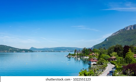 Panoramic view of Lake Annecy with beautiful village on the background, France