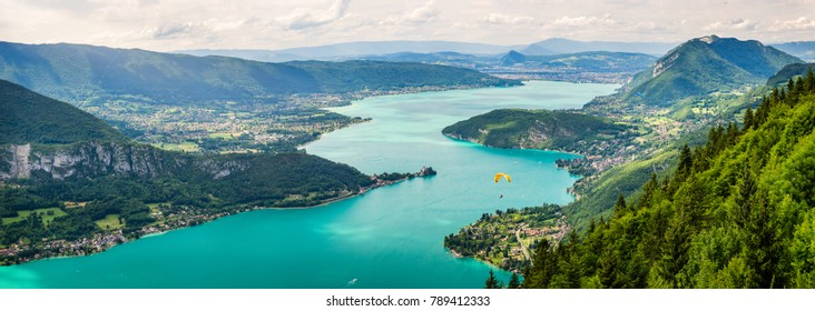 Panoramic view of Lake Annecy from Col de la Forclaz