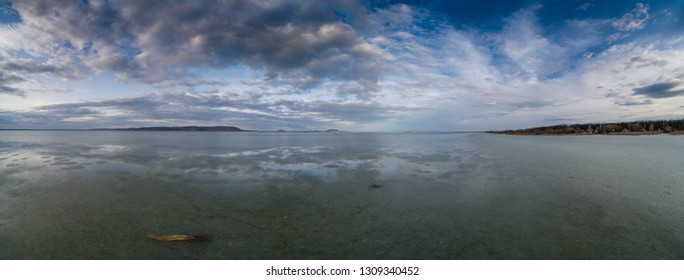panoramic view with Lake Balaton at winter from Balatonbereny