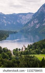 Panoramic view of Lake Bohinj in Bohinj, Slovenia