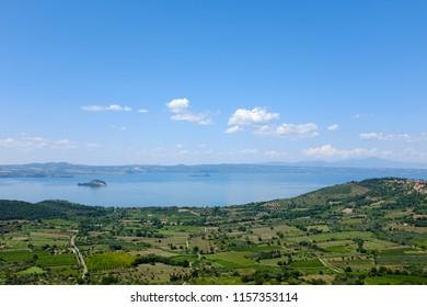 Panoramic view of the Lake Bolsena in Italy, near Viterbo, in the Natural Reserve of Tuscia
