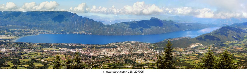 Panoramic view of Lake Bourget and Aix-les-Bains in the French Alps.