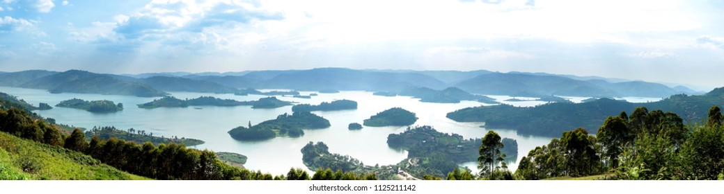 A panoramic view of Lake Bunyonyi (Place of many little birds) from Arcadia cottages  in south-western Uganda between Kisoro and Kabale,and it is close to the border with Rwanda, East Africa