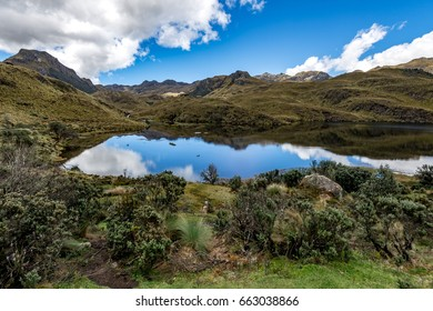 Panoramic view of the lake in Cajas National park, Ecuador