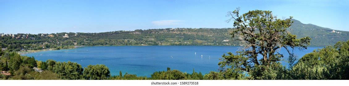 A panoramic view of the lake of Castel Gandolfo south of Rome - Lazio - Italy