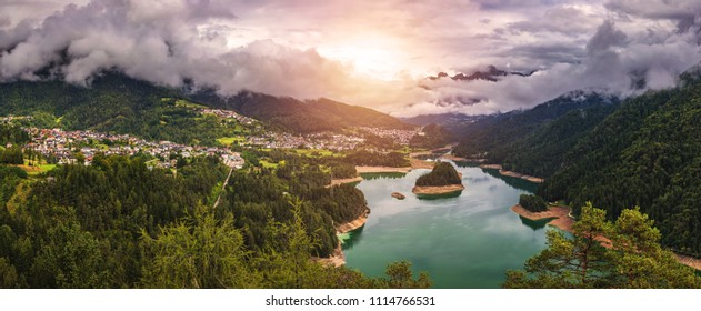 Panoramic view of lake of Centro Cadore in the Alps in Italy, Dolomites, near Belluno.
