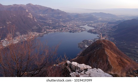 a panoramic view of the lake Como and the Adda river at twilight, Lombardy, Italy