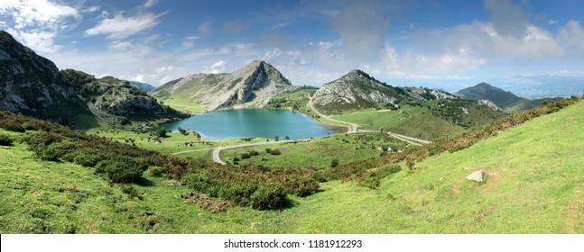 Panoramic view of Lake Enol at Covadonga Lakes in Asturias, Spain
