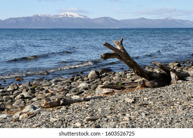 A panoramic view of Lake Fagnano, Patagonia, Argentina.