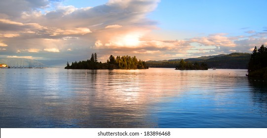 Panoramic view of Lake Flathead in evening time