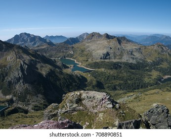 Panoramic view of lake Gemelli basin on the Bergamo Alps, northern Italy