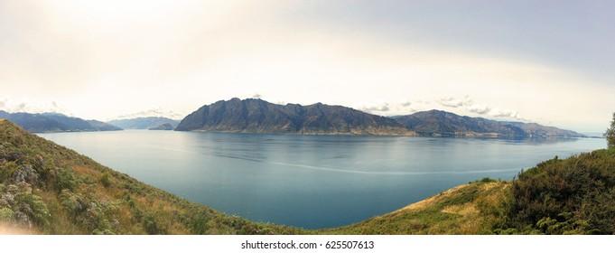 Panoramic view of Lake Hawea, near of Wanaka, New Zealand